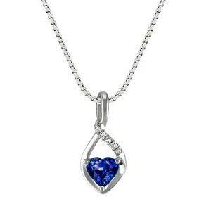 Jewelry - 1.25 Ct Heart Ceylon Sapphire & Round Diamonds
